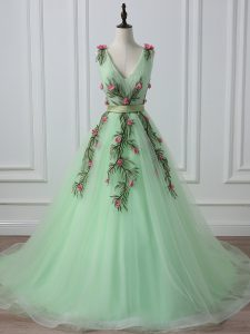 Apple Green Sleeveless Tulle Court Train Lace Up Prom Dress for Prom and Military Ball