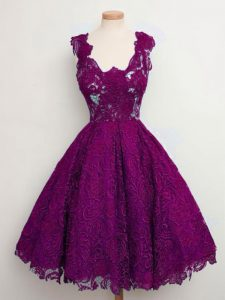 Lace Straps Sleeveless Lace Up Lace Wedding Guest Dresses in Purple