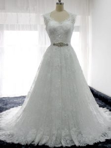 Suitable White Sleeveless Brush Train Beading and Lace Wedding Gowns