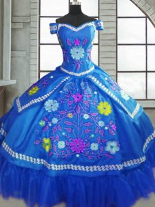Delicate Blue Short Sleeves Floor Length Beading and Embroidery Lace Up Sweet 16 Dresses