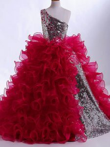 Hot Selling One Shoulder Sleeveless Zipper Kids Pageant Dress Wine Red Organza and Sequined