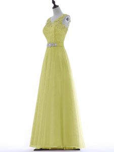 Yellow Tulle Zipper Homecoming Dress Sleeveless Floor Length Beading and Lace and Appliques