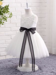 Ball Gowns Kids Formal Wear White Scoop Tulle Sleeveless Mini Length Zipper