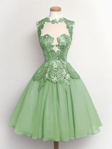 High-neck Sleeveless Bridesmaid Dress Knee Length Lace Green Chiffon