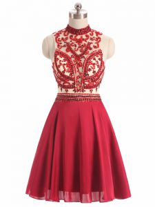 Beauteous Red Halter Top Backless Beading Prom Gown Sleeveless