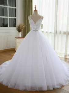 Great Beading and Lace and Appliques Wedding Dress White Lace Up Sleeveless Court Train