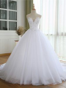 Fabulous White Sleeveless Lace and Appliques Lace Up Wedding Gowns