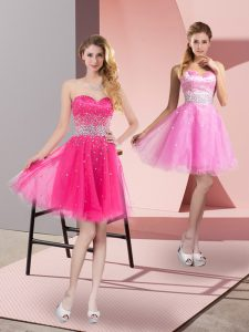 Sexy Hot Pink Tulle Zipper Cocktail Dress Sleeveless Mini Length Beading