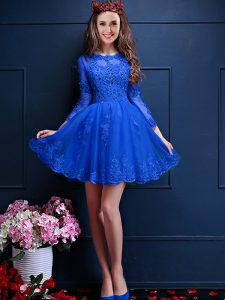 Enchanting Chiffon Scalloped 3 4 Length Sleeve Lace Up Beading and Lace and Appliques Vestidos de Damas in Royal Blue