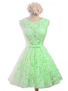 Great Green Sleeveless Knee Length Belt Lace Up Vestidos de Damas