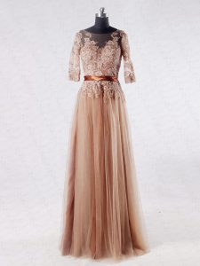 Tulle Scoop Half Sleeves Zipper Lace and Appliques Mother Of The Bride Dress in Brown