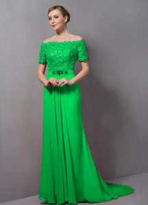 Fancy Chiffon Zipper Off The Shoulder Short Sleeves Mother Of The Bride Dress Sweep Train Lace