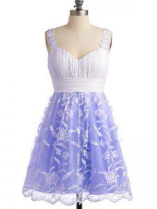 Sleeveless Lace Up Knee Length Lace Bridesmaid Dresses