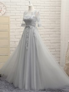 Deluxe Half Sleeves Appliques Lace Up Quinceanera Court of Honor Dress