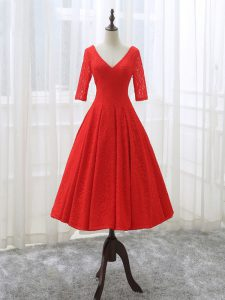Attractive Tea Length Red Homecoming Dress Lace Half Sleeves Lace and Appliques