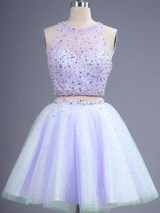 Sleeveless Lace Up Knee Length Beading Damas Dress