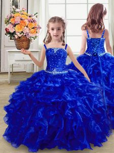 Exquisite Organza Sleeveless Floor Length Kids Formal Wear and Beading and Ruffles