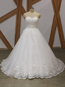 White Organza Lace Up Wedding Dress Sleeveless Brush Train Lace and Appliques