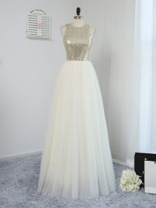 Sleeveless Tulle Floor Length Backless Bridesmaid Dresses in Light Yellow with Sequins