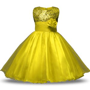 Yellow Zipper Flower Girl Dresses for Less Bowknot and Belt and Hand Made Flower Sleeveless Knee Length