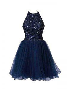 Discount Navy Blue Zipper Cocktail Dresses Beading Sleeveless Mini Length