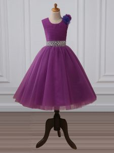 Custom Fit Purple Tulle Zipper Little Girl Pageant Gowns Sleeveless Tea Length Beading and Hand Made Flower