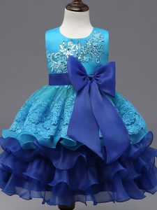 High Quality Royal Blue Scoop Zipper Lace and Ruffled Layers and Bowknot Flower Girl Dresses for Less Sleeveless