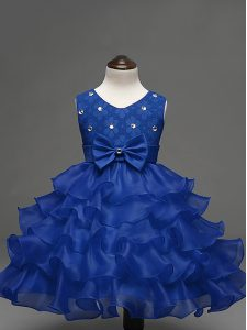 Eye-catching Royal Blue Ball Gowns Lace and Ruffled Layers and Bowknot Little Girls Pageant Gowns Zipper Organza Sleevel