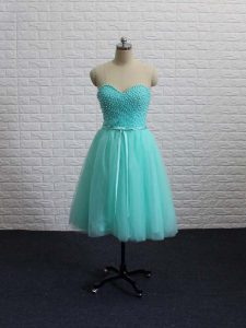 Chic Apple Green Tulle Lace Up Cocktail Dress Sleeveless Mini Length Beading