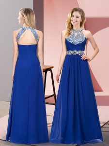 Affordable Empire Dress for Prom Blue Halter Top Chiffon Sleeveless Floor Length Zipper