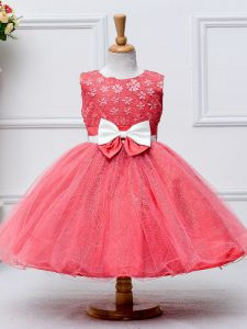 Coral Red Tulle Zipper Scoop Sleeveless Knee Length Little Girls Pageant Gowns Lace and Bowknot