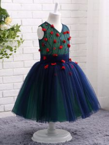 Popular Navy Blue Child Pageant Dress Wedding Party with Lace and Appliques V-neck Sleeveless Zipper