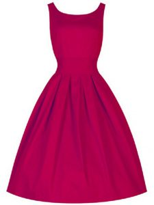 Inexpensive Fuchsia Dama Dress for Quinceanera Prom and Party and Wedding Party with Ruching Scoop Sleeveless Lace Up