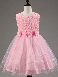 Perfect Tulle Scoop Sleeveless Zipper Ruffled Layers and Hand Made Flower Little Girl Pageant Gowns in Baby Pink