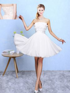 White Sleeveless Appliques Knee Length Quinceanera Dama Dress