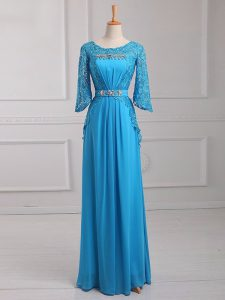 Baby Blue 3 4 Length Sleeve Floor Length Beading and Lace and Belt Zipper Mother Of The Bride Dress