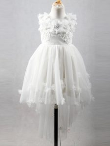 New Style White A-line Tulle Scoop Sleeveless Appliques High Low Lace Up Child Pageant Dress