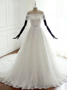 Off The Shoulder Sleeveless Bridal Gown Court Train Lace White Tulle