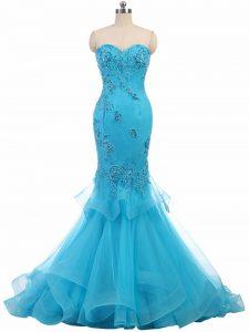 Elegant Aqua Blue Sweetheart Neckline Appliques Evening Dress Sleeveless Lace Up