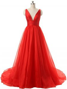 Sweet Sleeveless Organza Brush Train Backless Prom Gown in Red with Ruching