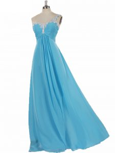 Aqua Blue Chiffon Zipper Dama Dress Sleeveless Floor Length Appliques