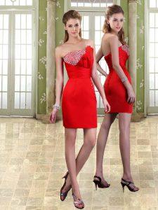Custom Fit Mini Length Red Prom Dresses Taffeta Sleeveless Beading