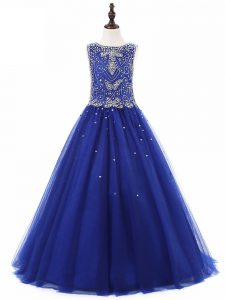 Tulle Scoop Sleeveless Lace Up Beading Kids Formal Wear in Royal Blue