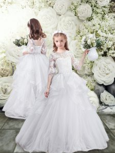 White Ball Gowns Tulle Scoop Half Sleeves Lace and Ruffles Lace Up Flower Girl Dresses Brush Train