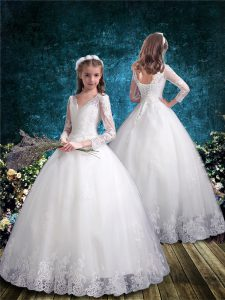 White Tulle Lace Up Flower Girl Dresses 3 4 Length Sleeve Floor Length Lace