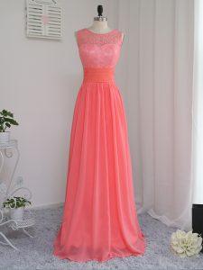 Noble Watermelon Red Zipper Bridesmaid Dresses Lace Sleeveless Floor Length
