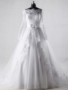 Long Sleeves Lace and Belt Zipper Wedding Gowns with White Brush Train