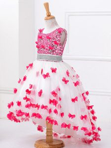 White A-line Scoop Sleeveless Tulle High Low Zipper Beading and Appliques Kids Pageant Dress