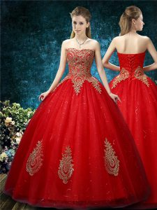 Red Ball Gowns Appliques Wedding Dresses Lace Up Tulle Sleeveless Floor Length