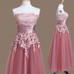 Fantastic Pink Wedding Guest Dresses Prom and Party and Wedding Party with Appliques Strapless Sleeveless Lace Up